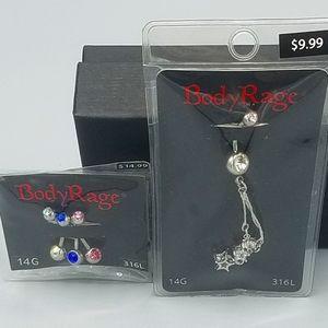 Body Rage 14G Belly Ring Bundle